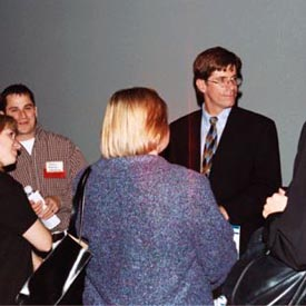Dr. Wagner talking with people